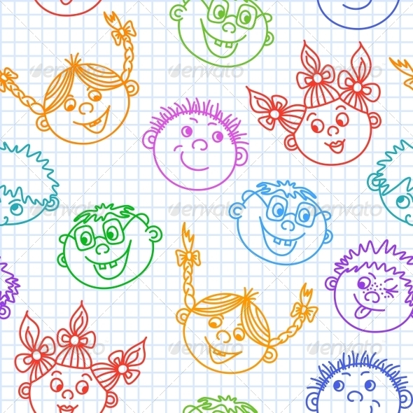 GraphicRiver Seamless Doodle Smiling Kids Faces Pattern 6545974