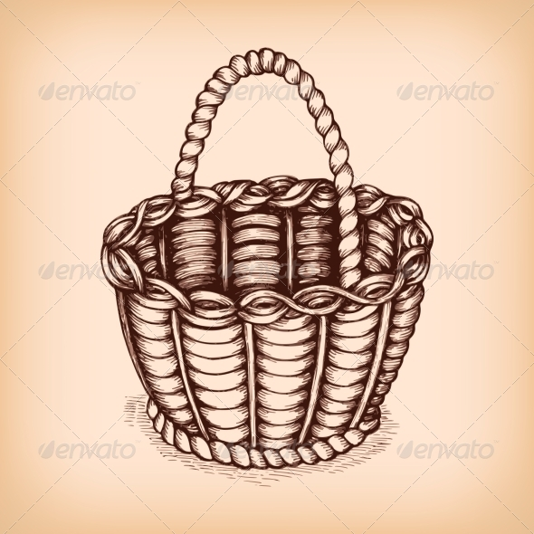 GraphicRiver Wicker Basket Emblem 6545977