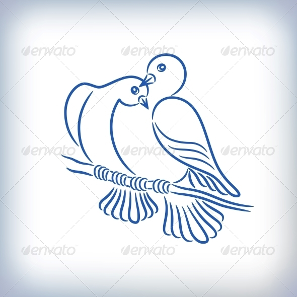 GraphicRiver Symbol of Two Pigeons 6545979