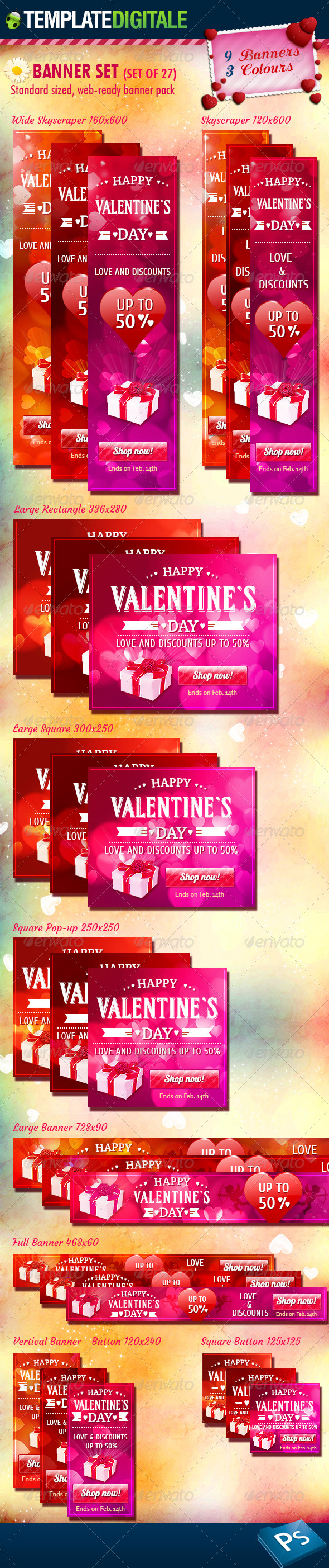 GraphicRiver 27 Valentine s Day Banner Set 6546294