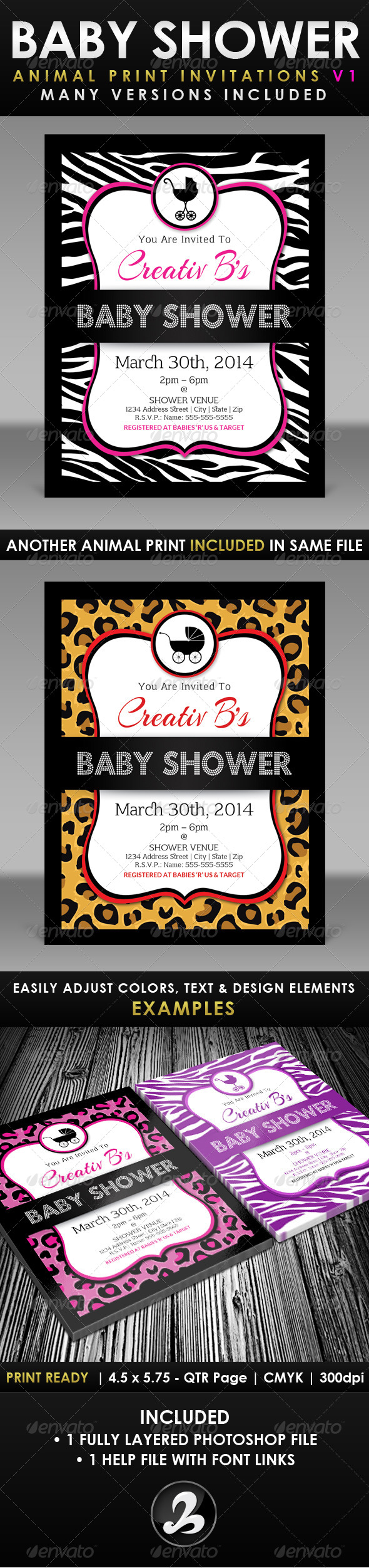 GraphicRiver Baby Shower Invitation Template Animal Print v1 6546321