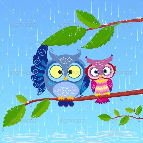 GraphicRiver Owls in Rain 6546485