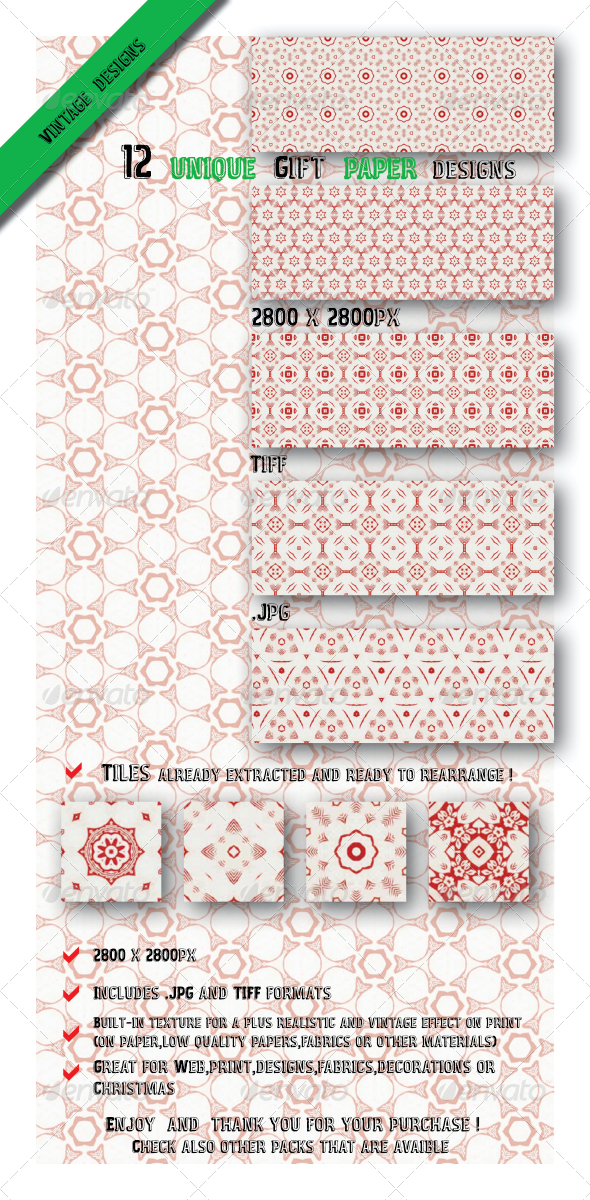 GraphicRiver Christmas Red & White Paper Fabric Patterns 6546713