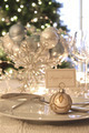 Elegant holiday dinner table with focus on place card - PhotoDune Item for Sale