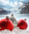 Three red Christmas balls in the snow - PhotoDune Item for Sale