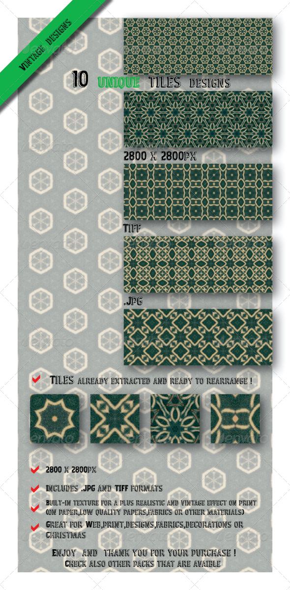GraphicRiver 10 Unique Green Vintage Tile Pattern Set 6547042