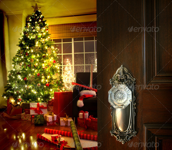 PhotoDune Door opening into a Christmas living room 684810