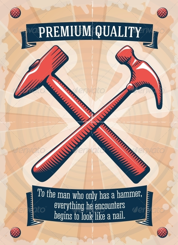 GraphicRiver Two Retro Hammers Tool Shop Poster 6547289