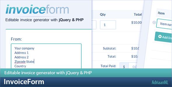 CodeCanyon InvoiceForm Editable invoice generator 6517595