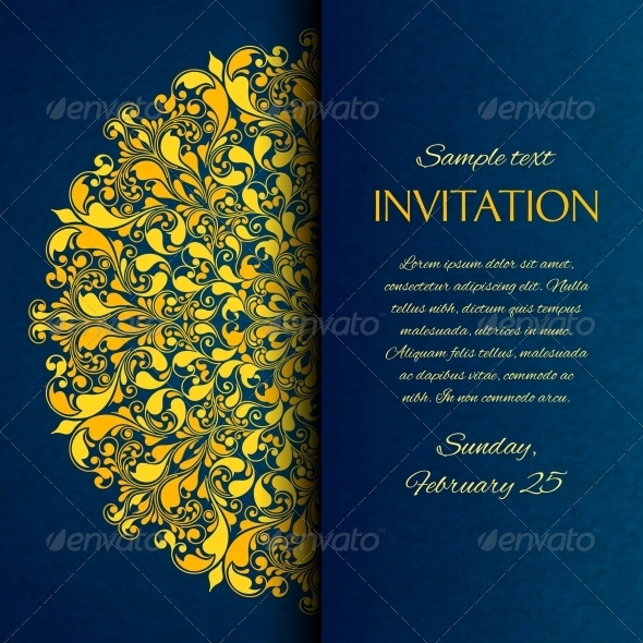 GraphicRiver Ornamental Blue with Gold Embroidery Invitation Ca 6547541