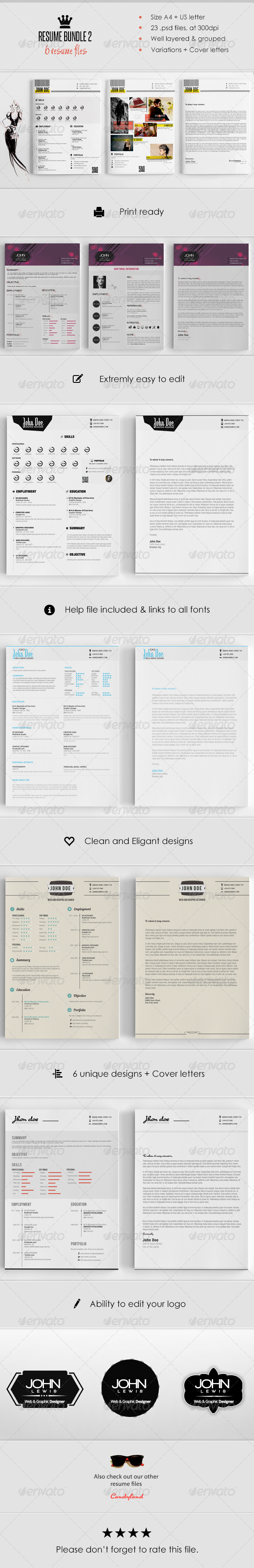GraphicRiver Resume Bundle 6 in 1 6547693