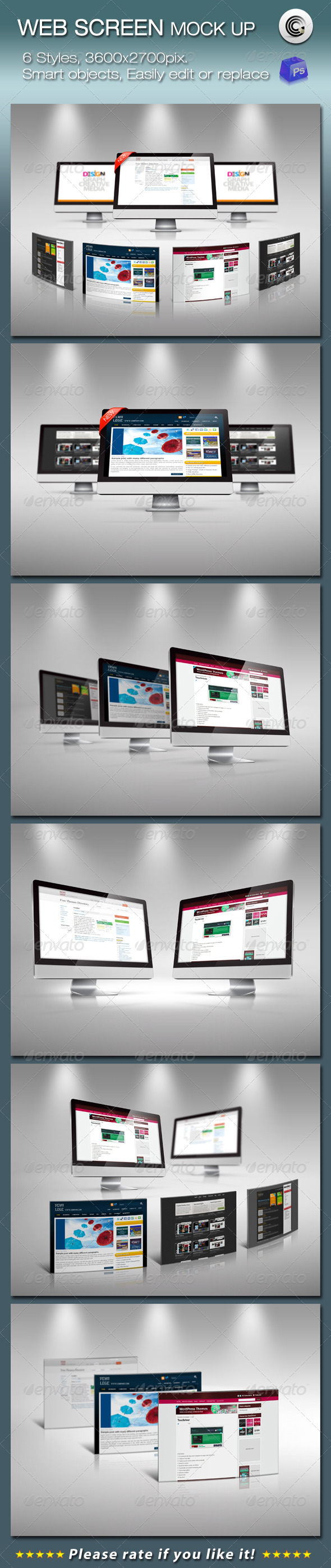 GraphicRiver 6 Styles Web Screen Mock-up 678683