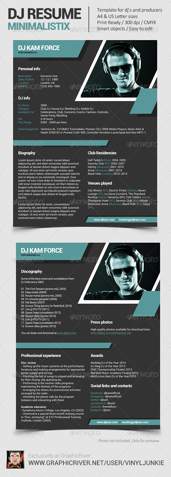 Minimalistix - DJ Resume - Resumes Stationery