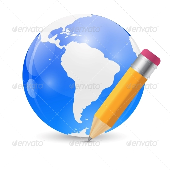 GraphicRiver Yellow Pencil and Globe Publish Icon Vector 6548080