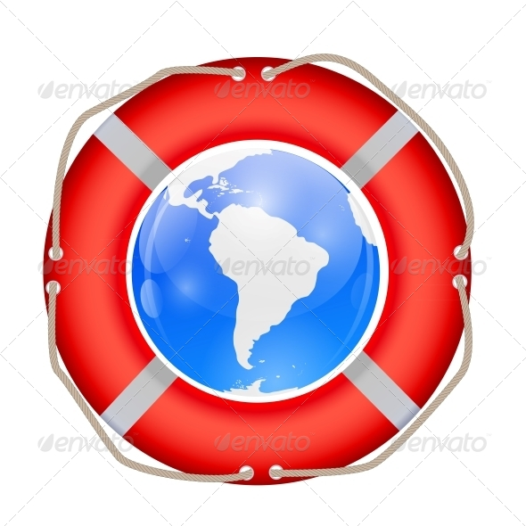 GraphicRiver Globe in Lifebuoy Vector Illustration 6548107