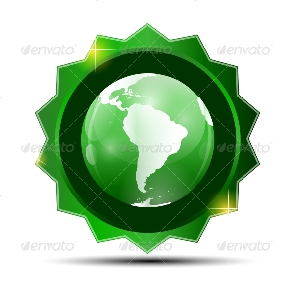 GraphicRiver Vector Illustration of Green Label with Globe Map 6548115