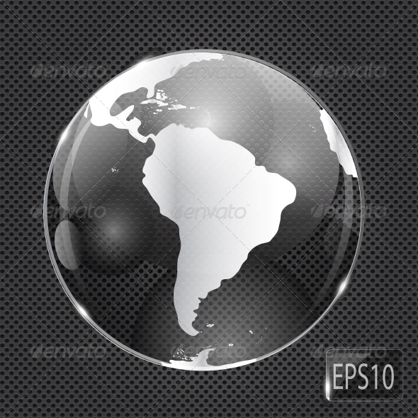 GraphicRiver Glass Globe Icon on Metal Background Vector 6548137