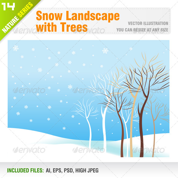 GraphicRiver Snow Landscape with Trees 6548551