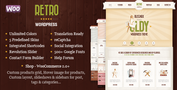 00 preview.  large preview - Retro - Vintage WordPress Theme