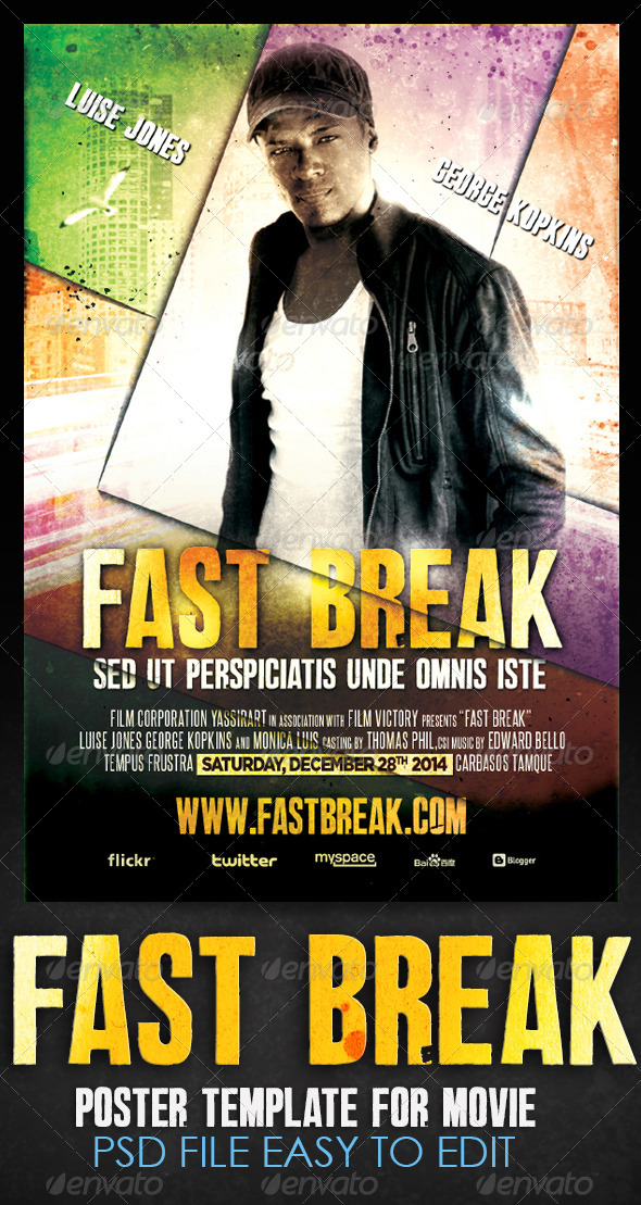 GraphicRiver Fast Break Movie Flyer Template 6548615