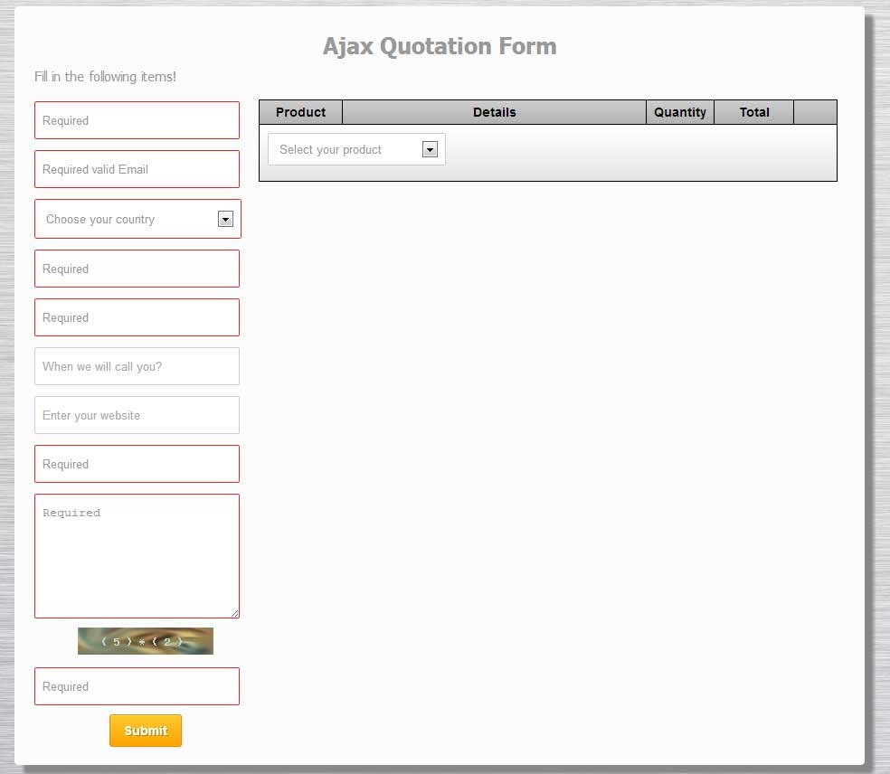 PHP Ajax Quotation Form by vynex – Quotation Form