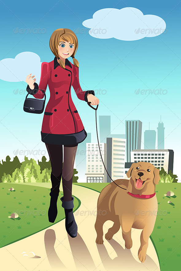 GraphicRiver Woman Walking Dogs 6534110