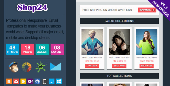 Shop24 - Responsive Ecommerce Email Template - Newsletters Email Templates