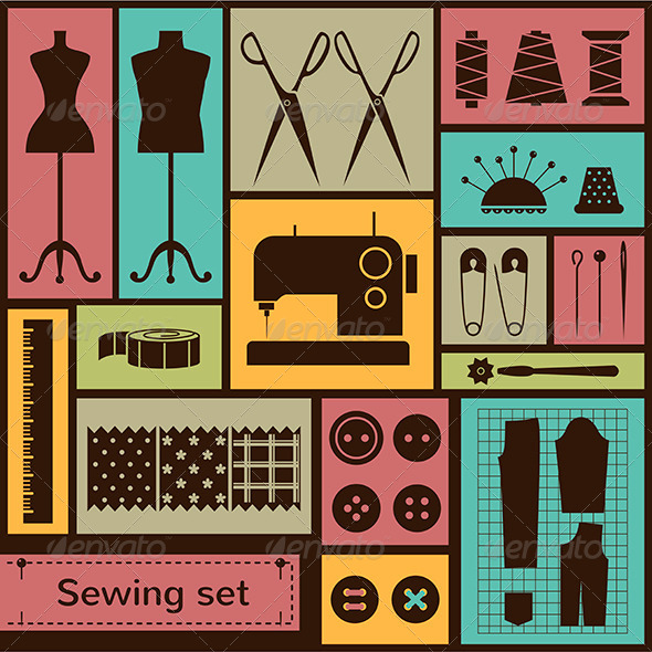 GraphicRiver Vector Flat Sewing Icons Set 6549420