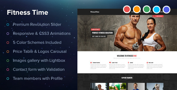 ThemeForest Fitness Time Landing Page 6531667