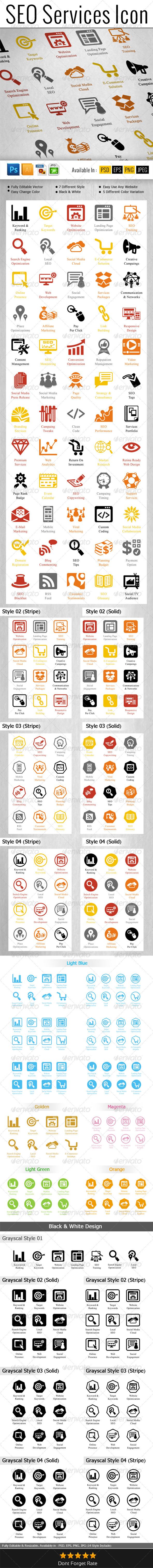 GraphicRiver SEO Services Icons Pack 6519629
