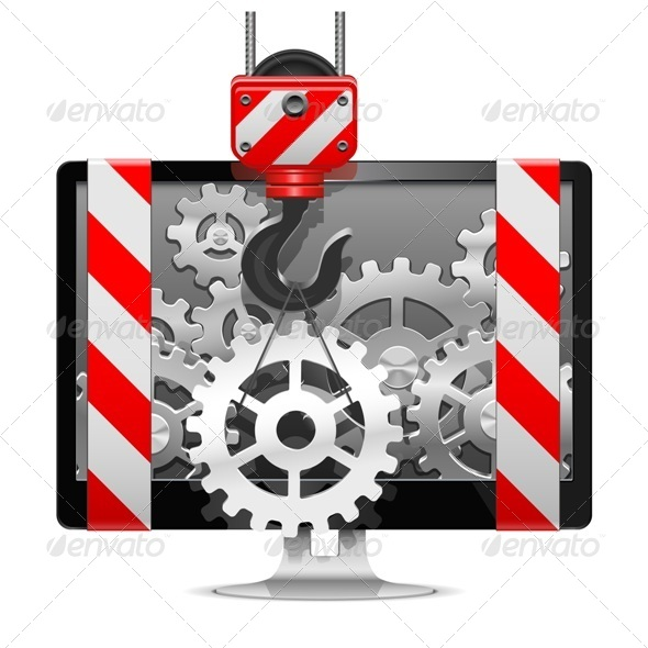 GraphicRiver Vector Computer Repair with Crane 6549657