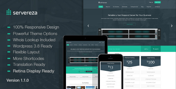 ThemeForest Servereza Responsive Hosting WP Theme 6514085