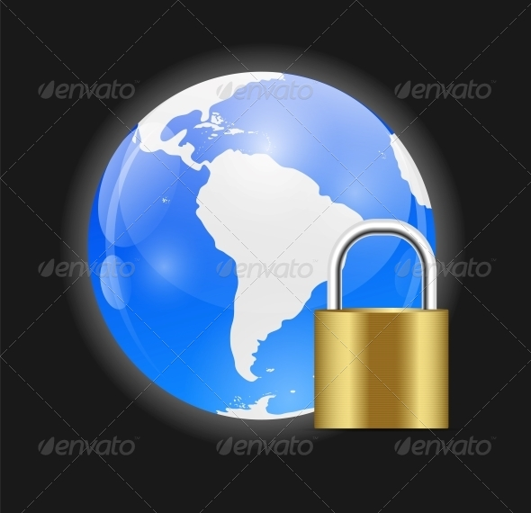GraphicRiver Globe Icon with Protection Lock Vector Illustration 6549994