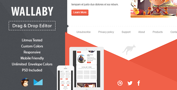 Wallaby Responsive Email Template with Editor
