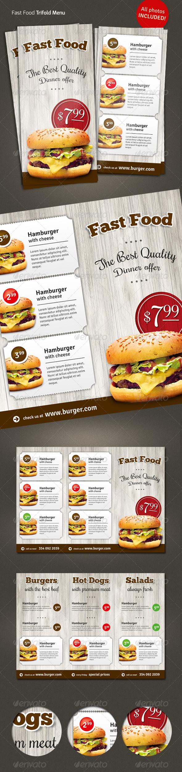 Trifold  Fast Food Menu Flyer