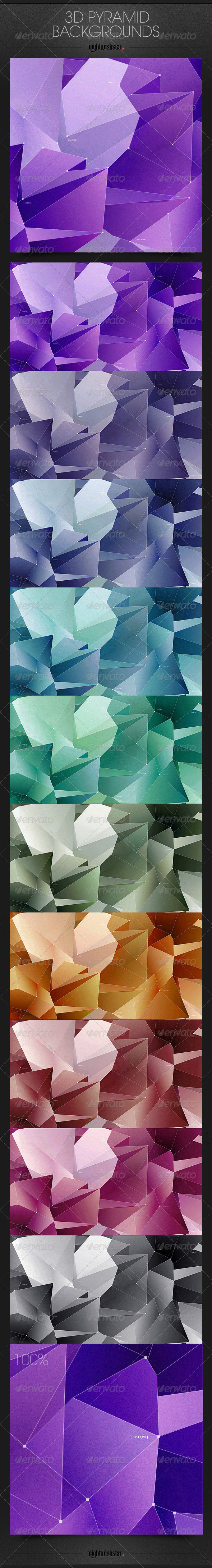 GraphicRiver 3D Pyramid Blocks Backgrounds 6550538