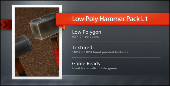 Low poly Hammer pack L1 - 3DOcean Item for Sale