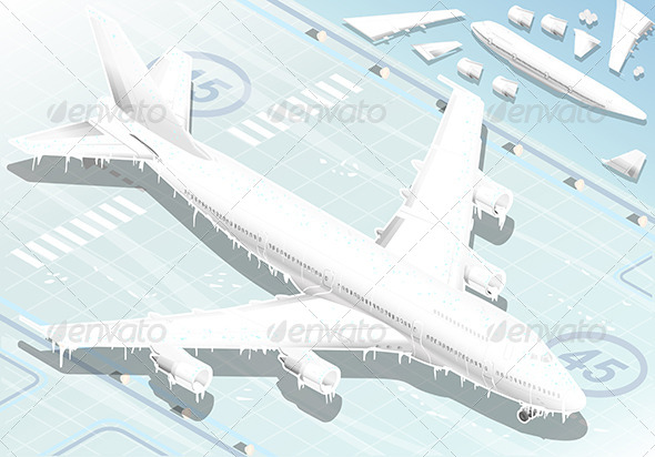 GraphicRiver Isometric Frozen Airplane in Front View 6550683