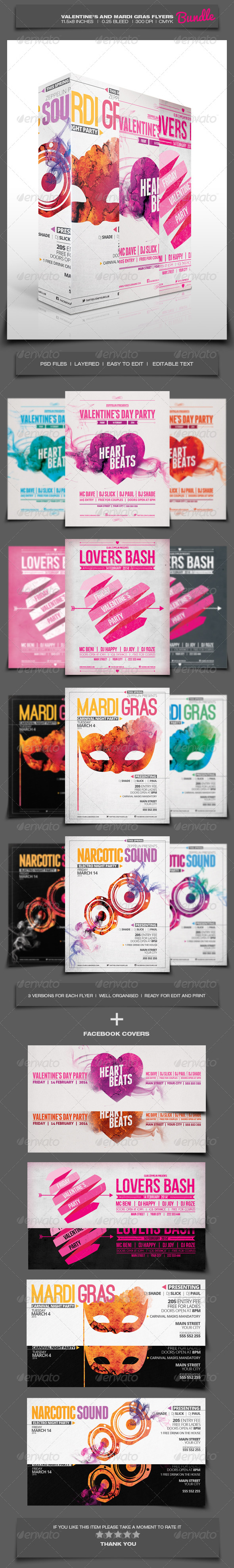 GraphicRiver Valentine s and Mardi Gras Flyers Bundle 6550941