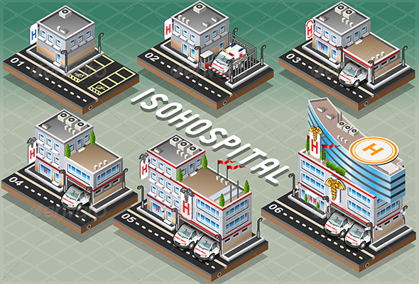 GraphicRiver Set of Isometric Hospitals 6551070