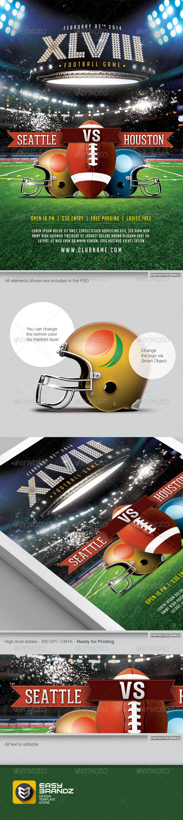 GraphicRiver XLVIII Football Game Flyer Template 6523581