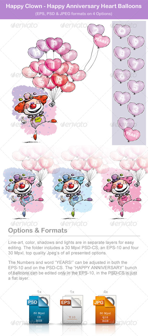 GraphicRiver Happy Clown Happy Anniversary Heart Balloons 6551854