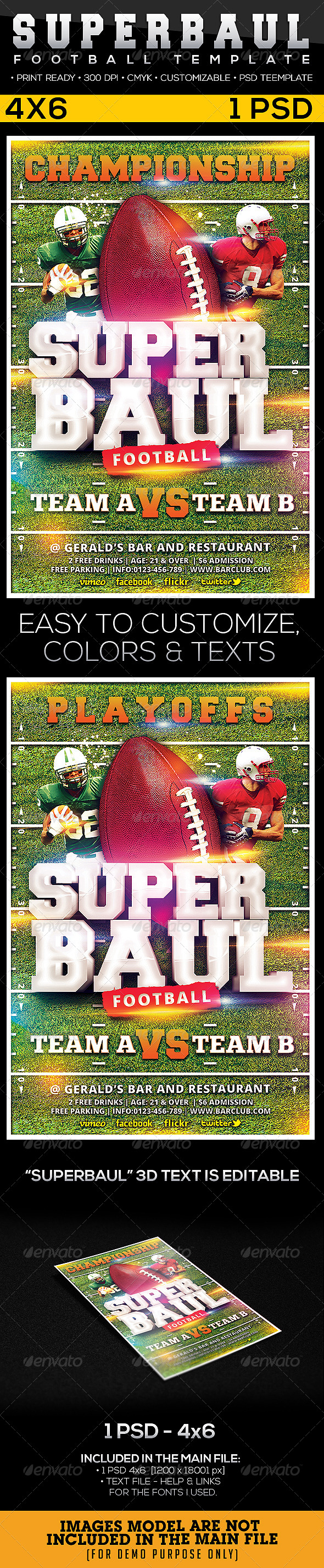 GraphicRiver Superboul Football Flyer Template 6526146