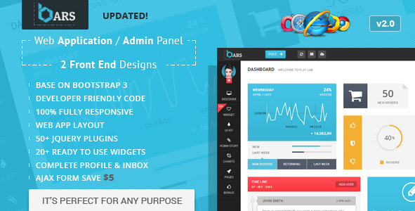 Bars Web App Admin Panel HTML Bootstrap 3 Template