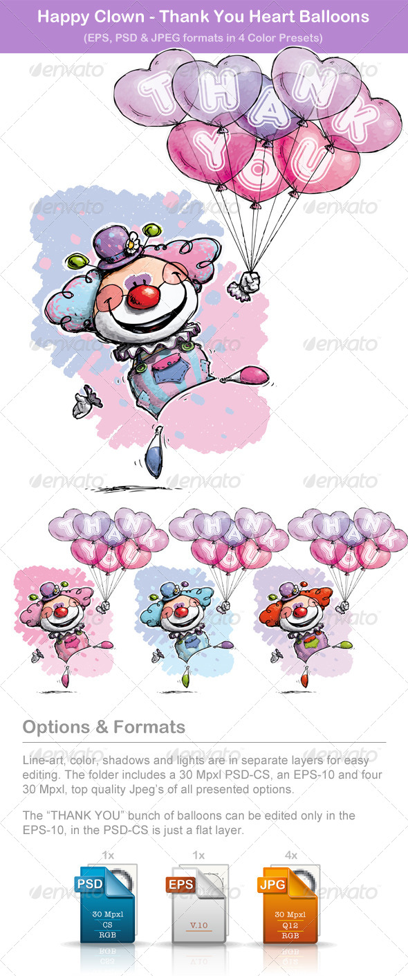 GraphicRiver Happy Clown Thank You Heart Balloons 6552354