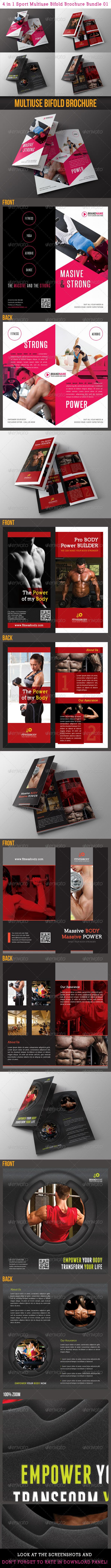 GraphicRiver 4 in 1 Sport Multiuse Bifold Brochure Bundle 01 6552357