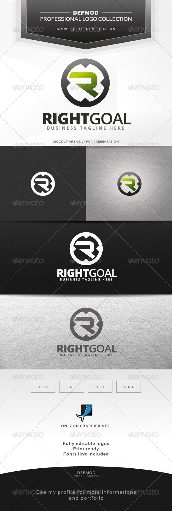 Right Goal Logo - Letters Logo Templates