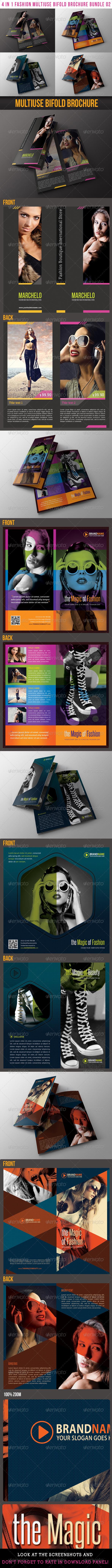 GraphicRiver 4 in 1 Fashion Multiuse Bifold Brochure Bundle 02 6552383
