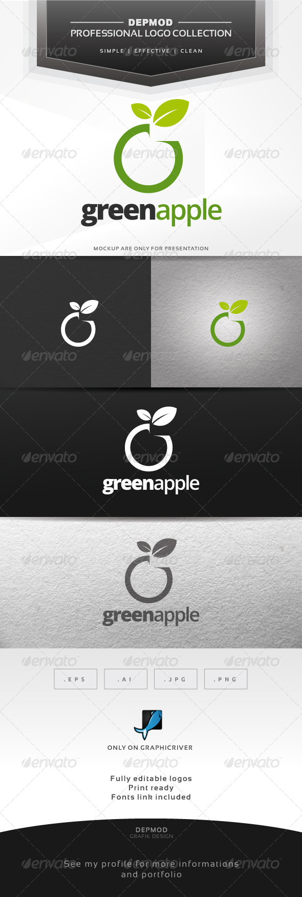 Green Apple Logo - Food Logo TemplatesGreen Apple Logo