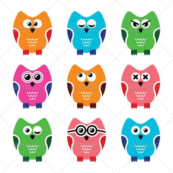 GraphicRiver Owl Cartoon Icons Set 6537383